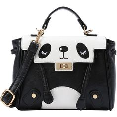 Black and White Panda Satchel Bag ($19) ❤ liked on Polyvore featuring bags, handbags, multicolor, colorful purses, multicolor handbags, handbag satchel, black and white purse and black white handbag