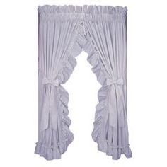 "Stephanie Solid Color 86"" wide x 63"" long Country Ruffled Priscilla Window Curtains with Bow Tie Backs - Sears"