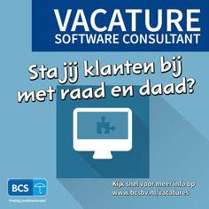 Heb jij ervaring in de (e-)HRM branche én affiniteit met IT en commercie? Wij zoeken een extra software consultant!  Bekijk de vacature en solliciteer op https://www.bcsbv.nl/vacatures/software-consultant/