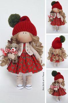 Christmas Art Doll Handmade Gift Doll Soft Fabric Doll Decor Baby Doll Red Nursery Doll Cloth Portrait Doll Textile Tilda Doll Irina E Etsy Christmas, Christmas Art, Christmas Fabric, Handmade Christmas, Christmas Decorations, Red Nursery, Nursery Decor, Pink Doll, Sewing Dolls