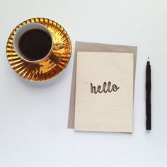 'Hello' Wooden Card