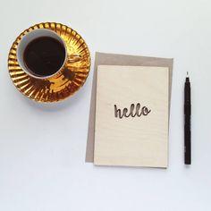 'Hello' Wooden Card