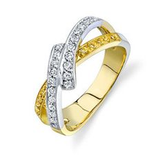 Fabled Collection ~ This fabulous 18K white, yellow and rose ring is comprised of .29ctw round white Diamonds and .12ctw round yellow Diamonds.