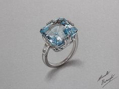 Aquamarine ring by marcellobarenghi.deviantart.com on @deviantART
