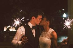 Beautiful interracial couple lighting up the sky on their wedding night #love #wmbw #bwwm