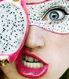 Tutti Frutti, A Fruit-Inspired Self Portrait Series by Cristina Otero  //  dragon fruit.