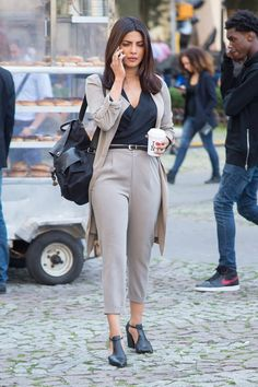 Pin for Later: Priyanka Chopra Just Wore the 1 Shoe Every Power Woman Needs in Her Wardrobe Her backpack kept the outfit casual outside of the office Shop similar pieces below!