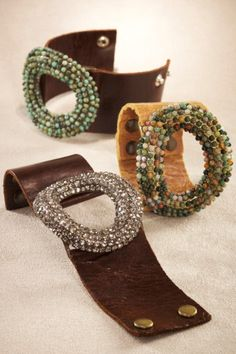 bracelet leather and beads