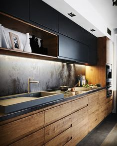 Idée cuisine avec meuble haut et décrocher plafond avec spot – Carrelage cuisine – Die schönsten Einrichtungsideen - Modern Luxury Kitchen Design, Kitchen Room Design, Home Decor Kitchen, Interior Design Kitchen, Kitchen Ideas, Best Kitchen Designs, Kitchen Trends, Kitchen Layout, Kitchen Colors