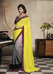#Yellow and grey colour #Georgette material #designer #saare #saari
