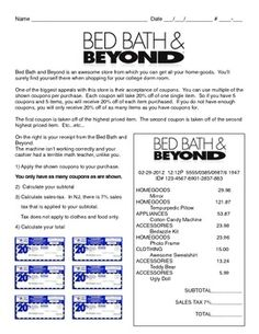 Problem-Based Assessment: Bed Bath & Beyond shopping problem. Free!