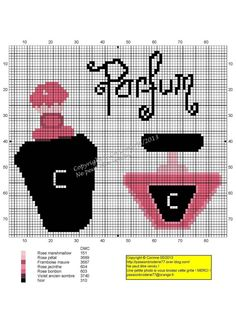 0 point de croix parfum noir et rose - cross stitch black and pink perfume