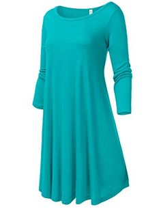 Round Neck Loose Fit Flowy Stretch Knit 3/4 Sleeve Dresses * Be sure to check out this awesome product.