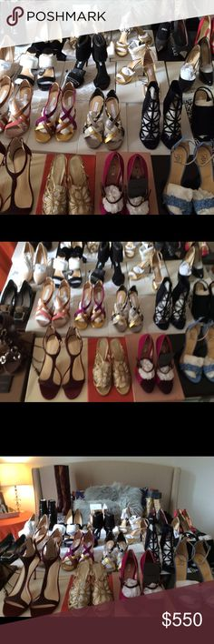 All designer shoes NWT and worn once. All designer new with tags and gently loved worn once sized 7 to 7-5 and some model size 10 for my showroom shoots. Prices start at 125 to 550 deepening on designer. Feel free to reach and make an offer. If you bundle I'll take 10% 3 pairs. Happy shopping and welcome to the Sipandshopnycbycandicesolomon. 🗽🗽🗽👠👠👠👢👢👡 Shoes