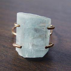 Natural Aquamarine Gold Ring OOAK by friedasophie.etsy.com https://www.etsy.com/listing/161319166/natural-aquamarine-gold-ring-ooak?ref=shop_home_active