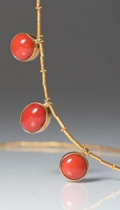 Greig Porter Greig Porter 3 Round Coral Bead Necklace