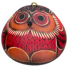 Red Owl Gourd Ornament