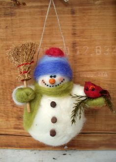 Barry+the+Snowman+Wool+Wrapped/Needle+Felted+by+WhimsicalWoolies,+$27.00