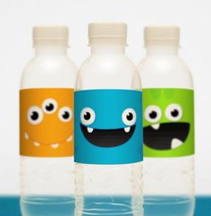 Monster Party water bottles
