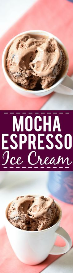 Mocha Espresso Ice Cream Recipe - You won't believe how easy it is to make your own homemade, no churn, rich and creamy Mocha Espresso Ice Cream with simple ingredients! Perfect for coffee and ice cream lovers! Love this easy no churn ice cream recipe! Ice Cream Desserts, Frozen Desserts, Ice Cream Recipes, Frozen Treats, Espresso Ice Cream, Coffee Ice Cream, Healthy Dessert Recipes, Delicious Desserts, Keto Recipes
