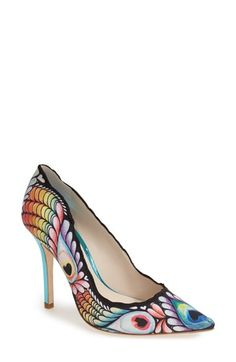 SOPHIA WEBSTER 'Lola' Peacock Print Pointy Toe Pump (Women) available at #Nordstrom
