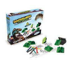 2203.2 - Carimbos Dinossauros do Brasil | Mergulhando na Era dos Dinossauros, esta linha vai levar as crianças direto à época em que estes animais agitavam o Brasil. O carimbo contribui no desenvolvimento da percepção visual, coordenação motora e estimula a criatividade das crianças. Vem com 6 carimbos diferentes, bloco de papel e giz de cera para colorir. | Faixa etária: + 4 anos | Medidas: 24 x 5 x 18 cm | Licenciados | Xalingo Brinquedos | Crianças