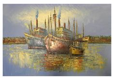 Canvas Art - Wall Art finished in USAHistory: Sea Voyage is a hand finished canvas oil painting. This breathtakingly detailed piece features 4 ships anchored in the bay, awa