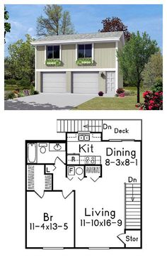 87879 measures x . perfect apartment for one with 746 sq. of living space including one bedroom with walk-in closet, living room, dining, kitchen and full bathroom. A back deck adds outdoor space. Plan Garage, Garage Loft, Garage Studio, Garage House Plans, Small House Plans, Dream Garage, Jeep Garage, Garage Workshop, Garage Apartment Plans