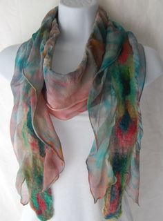 Hand Dyed Nuno Felted Chiffon Silk Scarf   Teal and salmon pink by QuirkyConcepts,