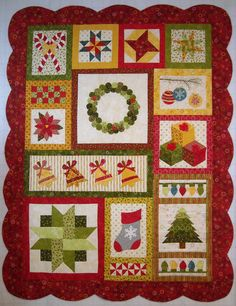 """Jingle Bell Square — Patchplay Quilting..41"""" x 53""""....a fun and festive Christmas quilt.  Each month we will post instructions for a different block in the quilt.  There are 12 in all"""