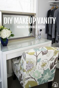 We converted the IKEA MALM dressing table into a fancied up Makeup Vanity by adding a mirror, hair appliance caddy and drawer handle. Ikea Makeup Vanity, Diy Vanity, Makeup Vanities, Ikea Malm Dressing Table, Dressing Room, Home Bedroom, Bedroom Decor, Bedrooms, New Room