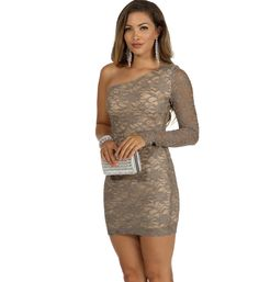 Taupe All That Lace Dress at WindsorStore