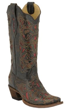Corral® Ladies Chocolate Floral w/ Red Inlay Western Boots | Cavender's Boot City