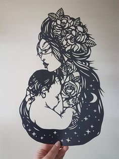 Mother's Love Paper Cutting Template for Personal or Commercial Use Tattoo Papercut Cut by Wildchild Designs Mother's Day Pro Breastfeeding Mother And Baby Tattoo, Mother Tattoos, Baby Tattoos, Body Art Tattoos, Sleeve Tattoos, Tatoos, Baby Design, Breastfeeding Tattoo, Tattoo Mutter