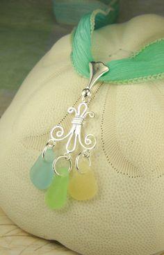 GENUINE Sea Glass Necklace On HandDyed Silk