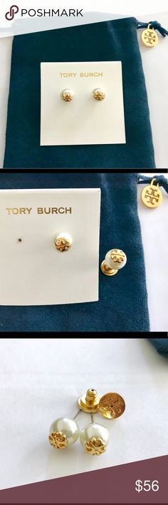 6431f2550 Tory Burch Evie Pearl Stud Earrings NEW w/ Pouch Beautiful authentic Tory  Burch gold logo