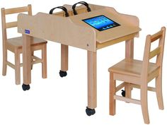 Mobile Double-Sided Technology Table | Honor Roll Childcare Supply - Early Education Furniture, Equipment and School Supplies