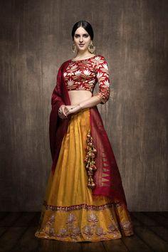 Looking for Mustard silk lehenga with red benarasi blouse? Browse of latest bridal photos, lehenga & jewelry designs, decor ideas, etc. on WedMeGood Gallery. Sari, Silk Lehenga, Ghagra Choli, Designer Bridal Lehenga, Indian Bridal Lehenga, Choli Designs, Lehenga Designs, Indian Wedding Outfits, Indian Outfits