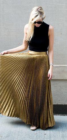 glitter pleated skirt + black sleeveless shirt