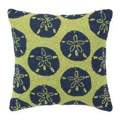 Green Sand Dollars Hook Pillow :: Nautical Pillows :: Bedding & Bath ::