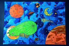 O céu de Ícaro tem mais poesia que o de Galileu - aquarela e nanquim sobre canson. #watercolors #universe #airship #flyingmachine #illustration #handdraw