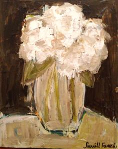 """""""Vase of Hydrangeas""""--16""""x20"""" Acrylic on Canvas by TheFrenchPalette I French Palette Art by Sherrill French"""