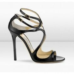 JUSTINIA (Jimmy Choo Lance 115Mm Black Patent Leather Strappy Sandals)