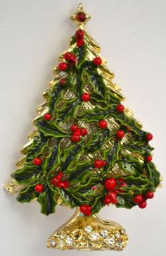 39 RARE Vintage Rhinestone Holly Red Berry Enamel Christmas Tree Brooch Pin