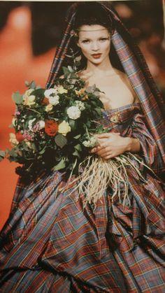 Kate Moss in a tartan wedding dress, designed by Vivienne Westwood.