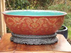 bassin en terre cuite marqueterie de nacre rafraîchissoir napoléon 3 19eme
