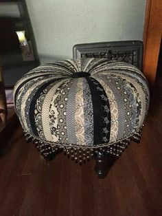 What about using old ties to makethis :)Little Miss Muffet's Tuffet Tire Furniture, Funky Furniture, Upholstered Furniture, Repurposed Furniture, Furniture Makeover, Painted Furniture, Tie Crafts, Sewing Crafts, Diy And Crafts