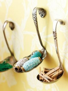 Create wall hooks from spoons and forks