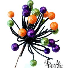 "Halloween Glitter Berry Pick Color: Lime Green, Black, Purple, Orange Size: 11"" Material: Styrofoam and wire Stem brown, overall length about 11"". Berry portion about 3 1/2"" in ht"