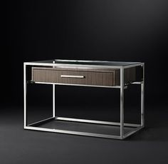 "RH Modern's Kennan 35"" Open Nightstand:A single wooden drawer suspended within a slender metal frame anchors our elegant nightstand by Anthony Cox. Reflecting the spare lines of the 1950s, its openwork design occupies a minimum of visual space."